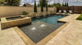 108 Geometric Pool and Spa with Custom Features, Frisco, TX