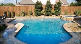 Frisco, TX, Geometric Pool with Water Feature Wall