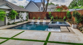 Little Elm, TX, Geometric Pool and Spa with Raised Stepping Pads
