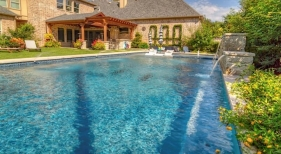 Colony, TX, Geometric Pool with Level Spa and Water Features