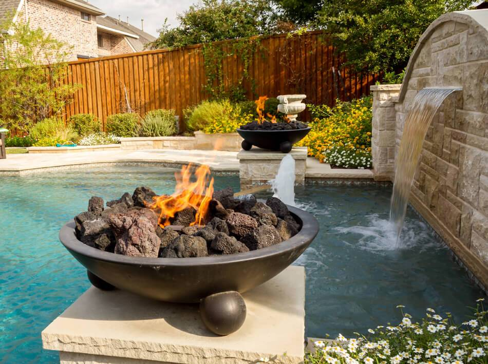 Fire bowl water feature